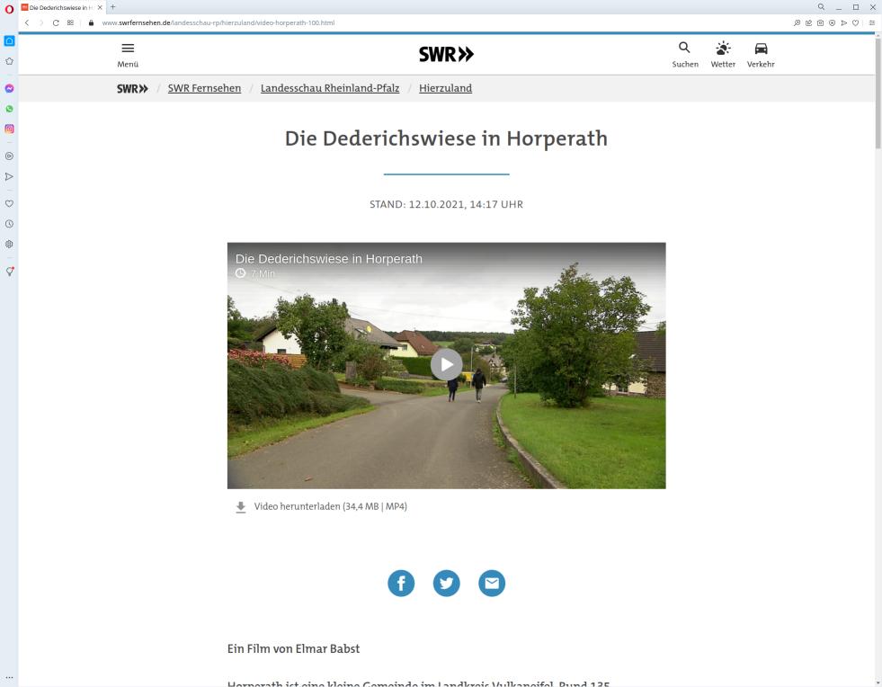 Webseite SWR Fernsehen (Screenshot) - Hierzuland 2021-10-13